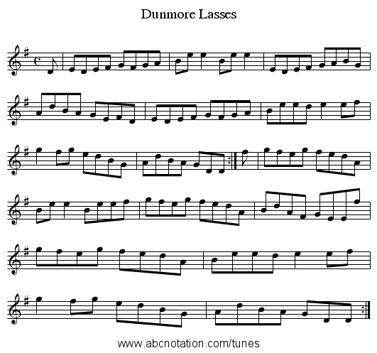 Dunmore Lasses - staff notation
