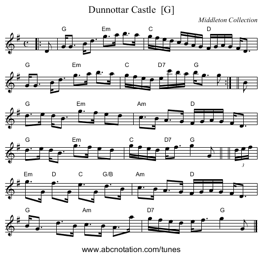Dunnottar Castle  [G] - staff notation