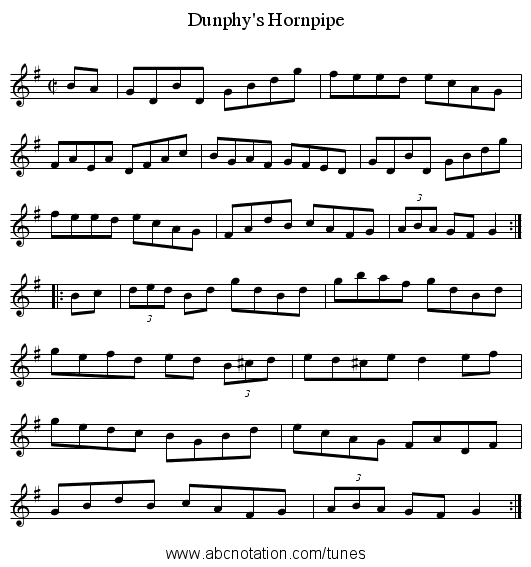 Dunphy's Hornpipe - staff notation