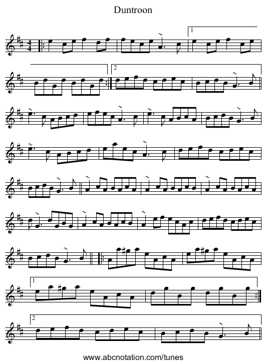 Duntroon Castle - staff notation