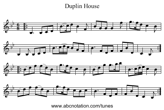 Duplin House - staff notation