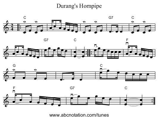 Durang's Hornpipe - staff notation