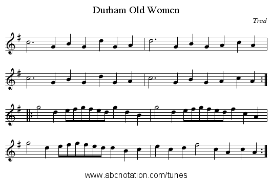 Durham Old Women - staff notation