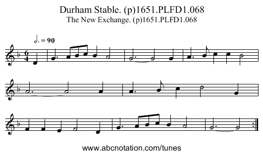 Durham Stable. (p)1651.PLFD1.068 - staff notation