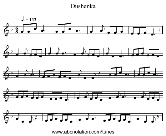 Dushenka - staff notation
