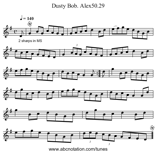 Dusty Bob. Alex50.29 - staff notation