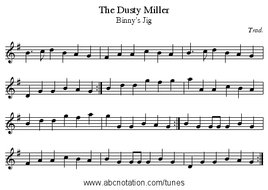 Dusty Miller, The - staff notation
