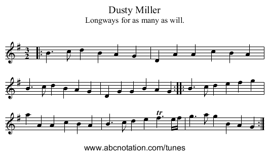 Dusty Miller - staff notation