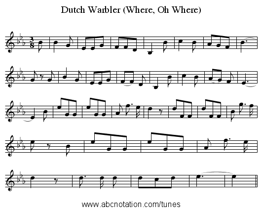 Dutch Warbler (Where, Oh Where) - staff notation