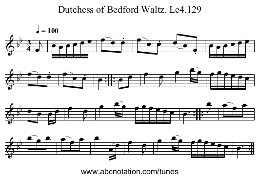 Dutchess of Bedford Waltz. Le4.129 - staff notation