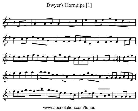 Dwyer's Hornpipe [1] - staff notation