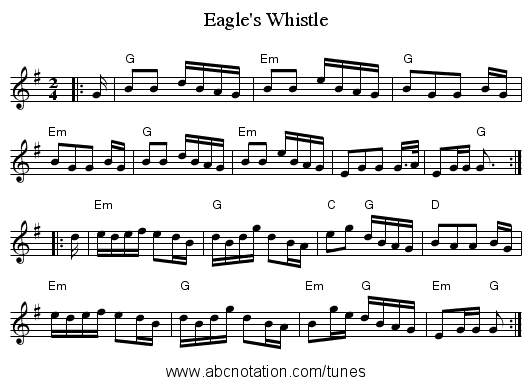 Eagle's Whistle - staff notation