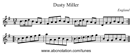 Earl Marshall's Reel - staff notation