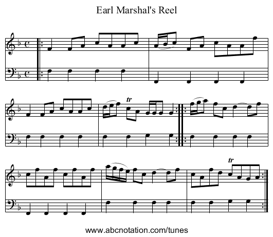 Earl Marshal's Reel - staff notation