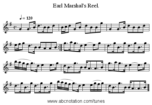 Earl Marshal's Reel. - staff notation