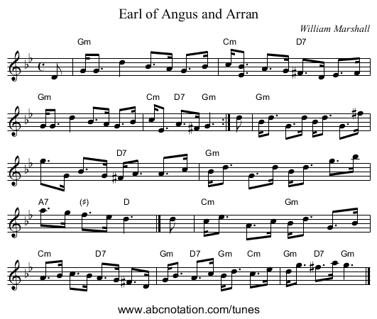 Earl of Angus and Arran - staff notation