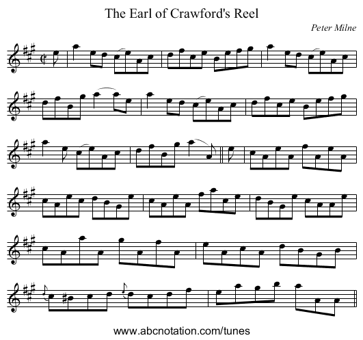 Earl of Crawford's Reel, The - staff notation