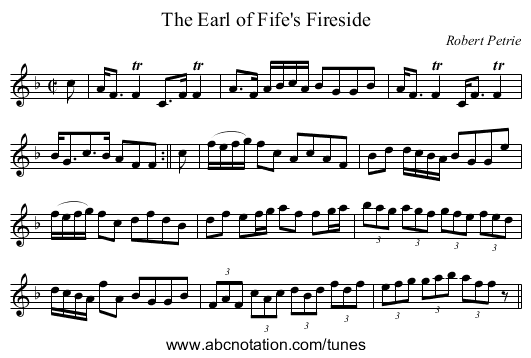 Earl of Fife's Fireside, The - staff notation