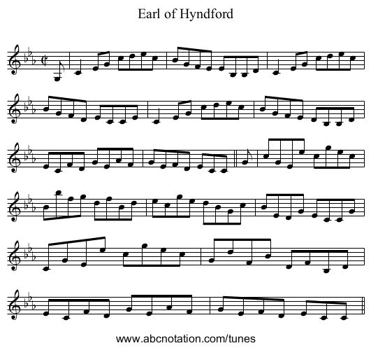 Earl of Hyndford - staff notation