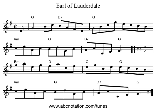 Earl of Lauderdale - staff notation