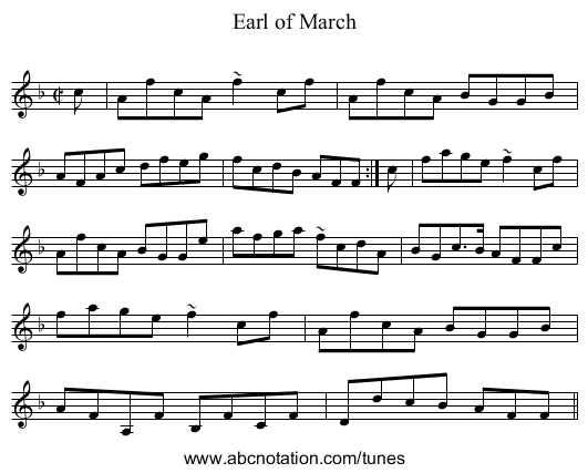 Earl of March - staff notation