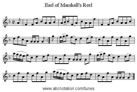 Earl of Marshall's Reel - staff notation
