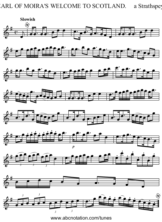 EARL OF MOIRA'S WELCOME TO SCOTLAND.     a Strathspey. - staff notation