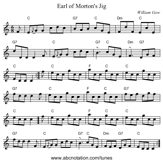 Earl of Morton's Jig - staff notation