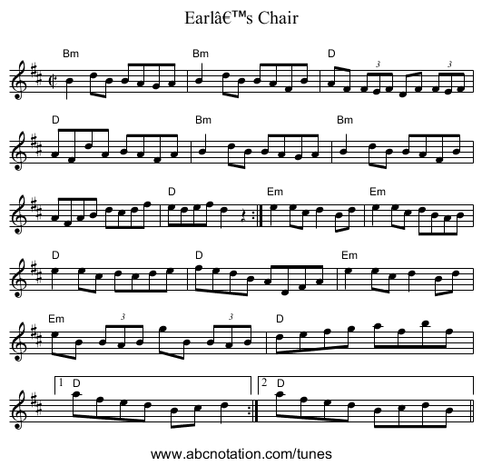 Earl's Chair - staff notation