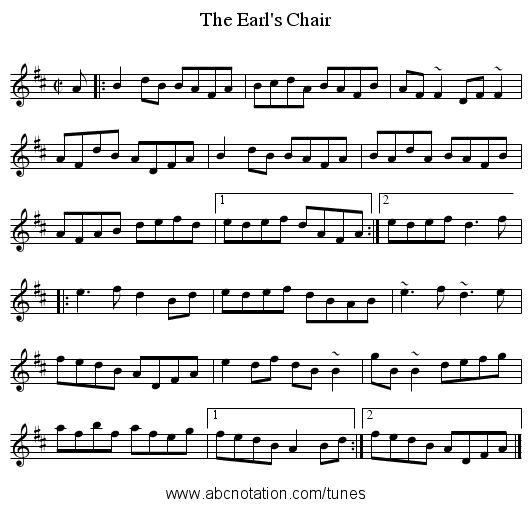 Earl's Chair, The - staff notation