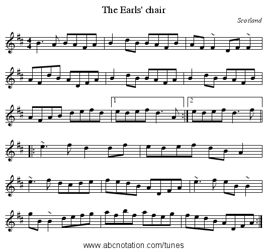 Earls' chair, The - staff notation