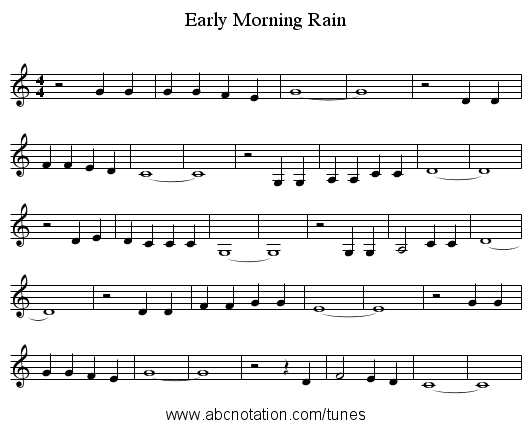 Early Morning Rain - staff notation