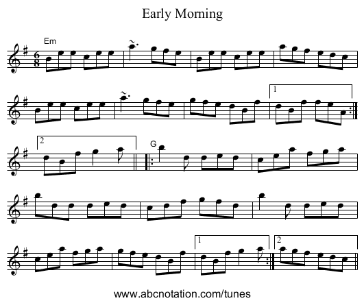 Early Morning - staff notation