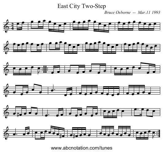 East City Two-Step - staff notation