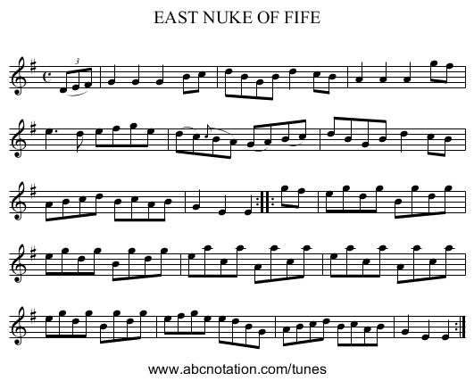 EAST NUKE OF FIFE - staff notation