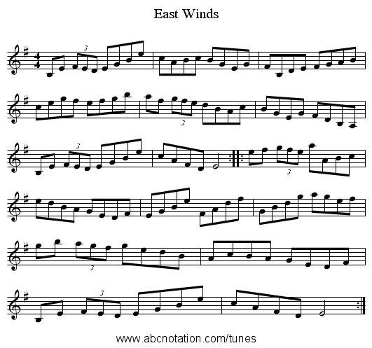 East Winds - staff notation