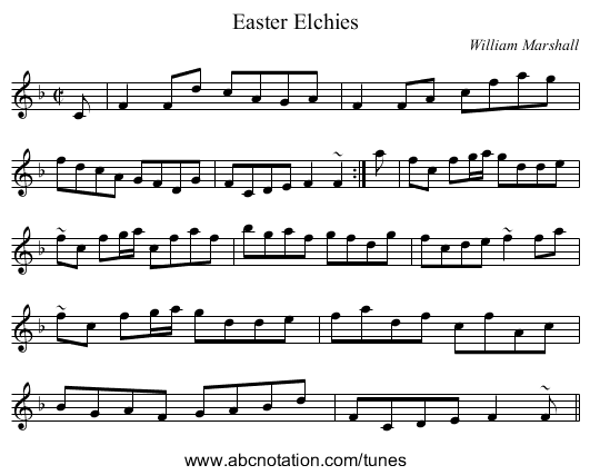 Easter Elchies - staff notation