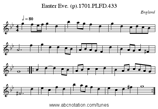 Easter Eve. (p).1701.PLFD.433 - staff notation