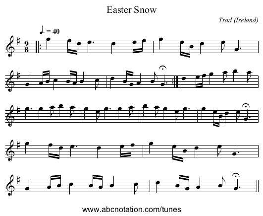 Easter Snow - staff notation