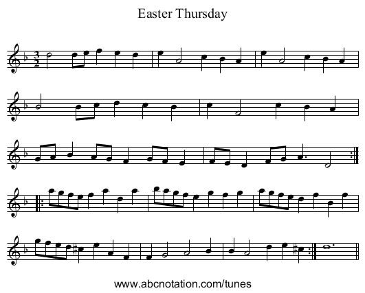 Easter Thursday - staff notation