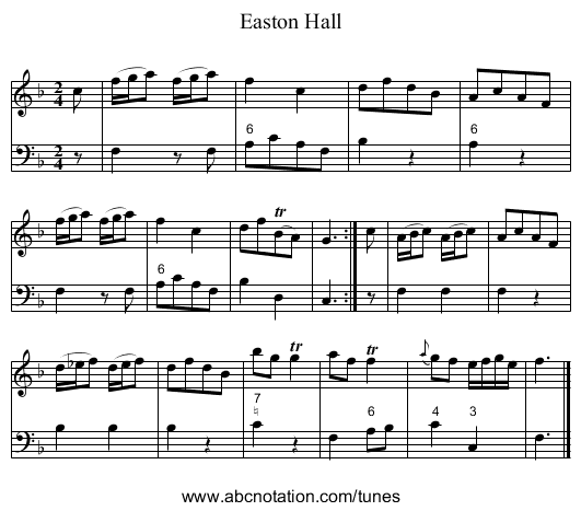Easton Hall - staff notation