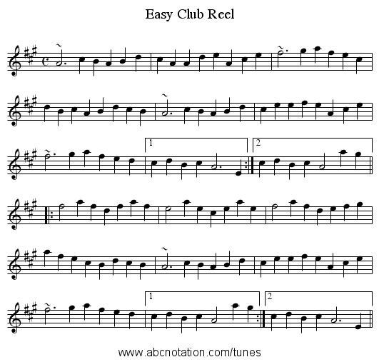 Easy Club Reel - staff notation