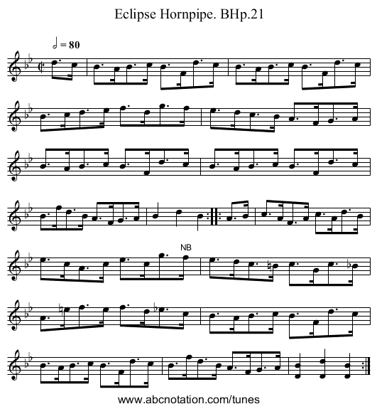 Eclipse Hornpipe. BHp.21 - staff notation
