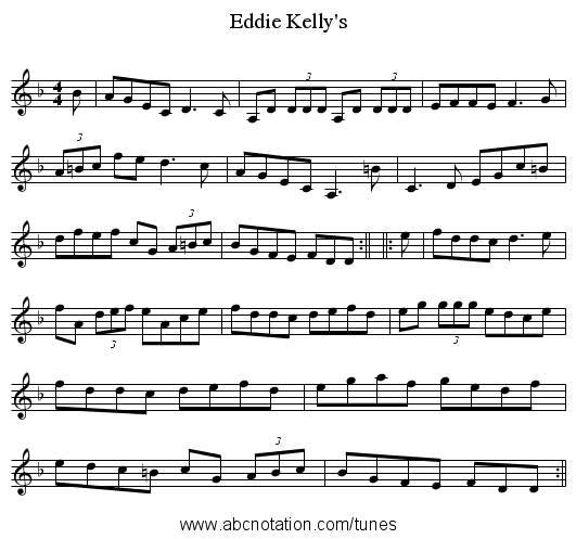 Eddie Kelly's - staff notation