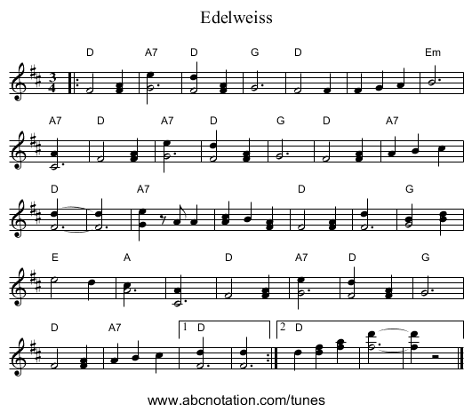 Edelweiss - staff notation