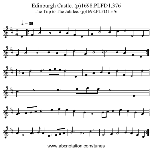 Edinburgh Castle. (p)1698.PLFD1.376 - staff notation