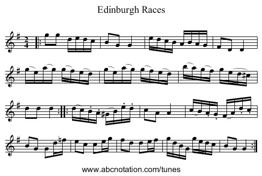 Edinburgh Races - staff notation