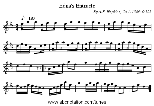 Edna's Entracte - staff notation