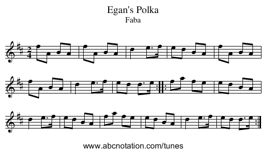 Egan's Polka - staff notation