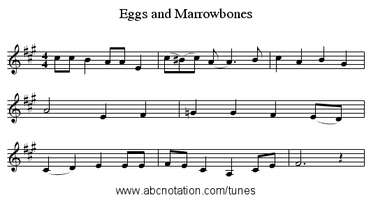 Eggs and Marrowbones - staff notation
